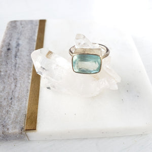 Aquamarine Sterling Silver Ring - Sati Gems Hawaii Healing Crystal Gemstone Jewelry