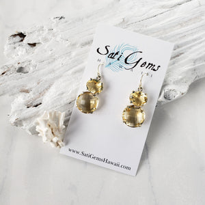 Sunny Citrine Earrings - Sati Gems Hawaii Healing Crystal Gemstone Jewelry