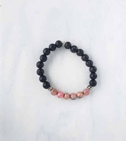 Rhodonite + Lava Bracelet - Sati Gems Hawaii Healing Crystal Gemstone Jewelry