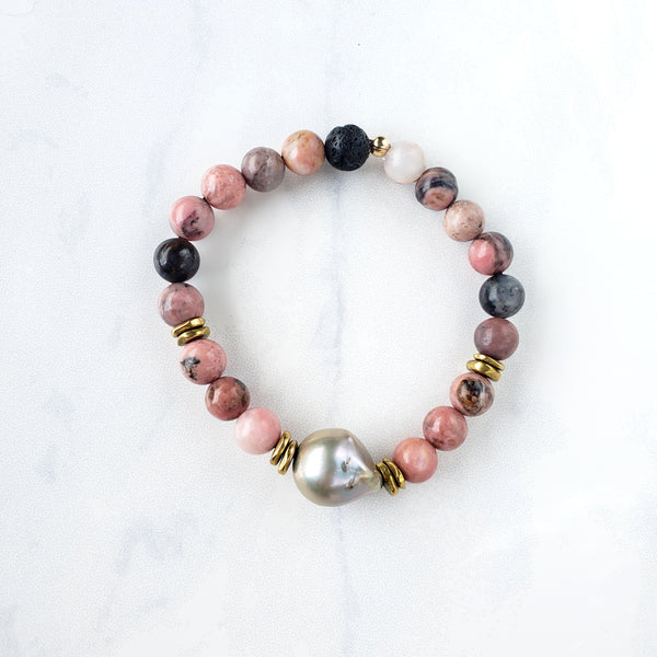 Rhodonite+Pearl Bracelet - Sati Gems Hawaii Healing Crystal Gemstone Jewelry