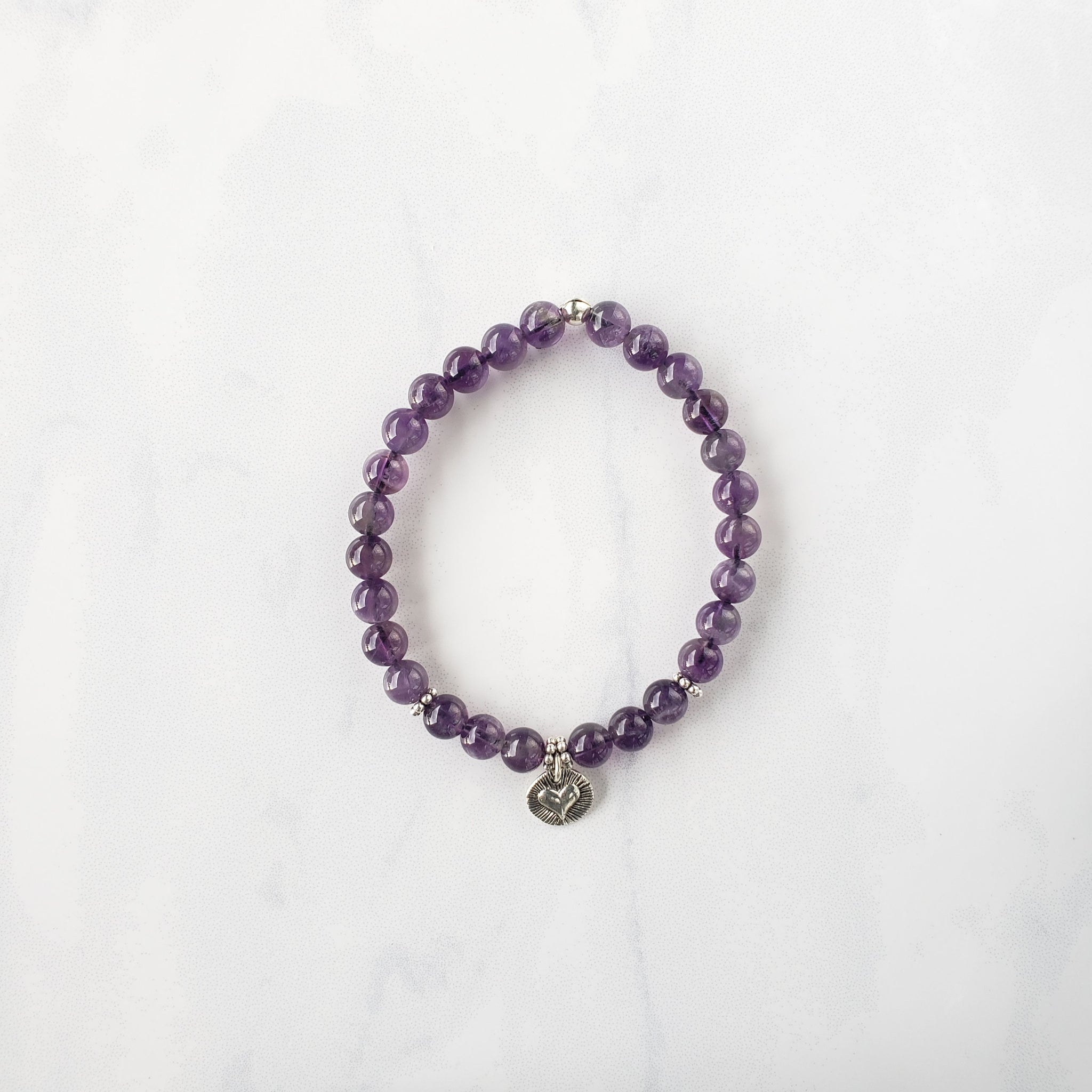 Amethyst+sterling silver heart bracelet - Sati Gems Hawaii Healing Crystal Gemstone Jewelry
