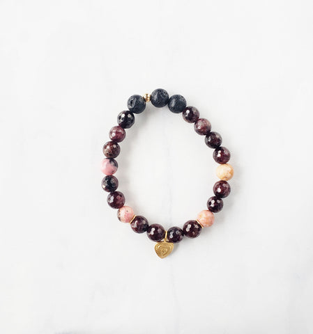Garnet + Rhodonite heart bracelet - Sati Gems Hawaii