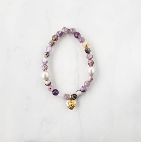 Amethyst Sage + Gold Heart Bracelet - Sati Gems Hawaii Healing Crystal Gemstone Jewelry