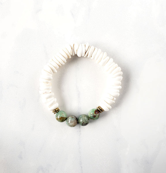 Puka Shell + Chrysocolla Bracelet - Sati Gems Hawaii Healing Crystal Gemstone Jewelry