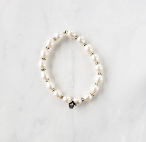 White Pearl Silver Flower Bracelet - Sati Gems Hawaii Healing Crystal Gemstone Jewelry