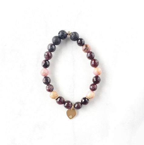 Rhodonite + Garnet + Lava Bracelet - Sati Gems Hawaii Healing Crystal Gemstone Jewelry