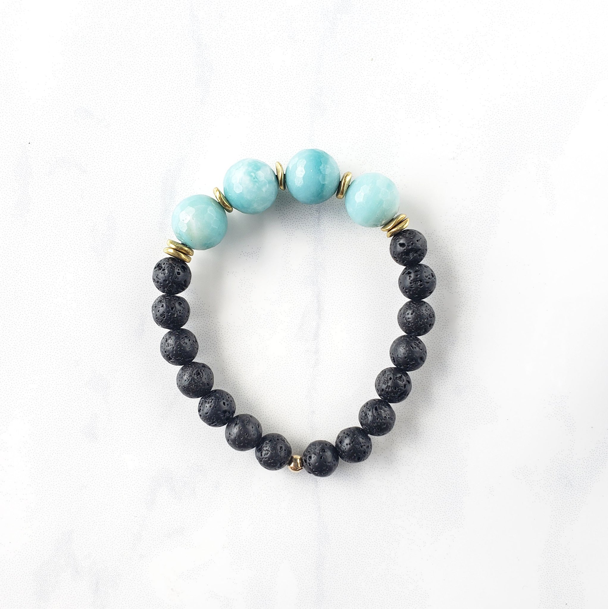 Amazonite + Lava Bracelet - Sati Gems Hawaii Healing Crystal Gemstone Jewelry