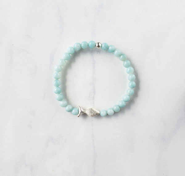 Amazonite + Silver Fish Bracelet - Sati Gems Hawaii
