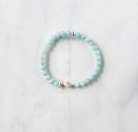 Amazonite + Silver Fish Bracelet - Sati Gems Hawaii Healing Crystal Gemstone Jewelry