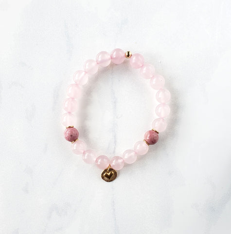 Pink Quartz+Rhodochrosite heart bracelet - Sati Gems Hawaii Healing Crystal Gemstone Jewelry