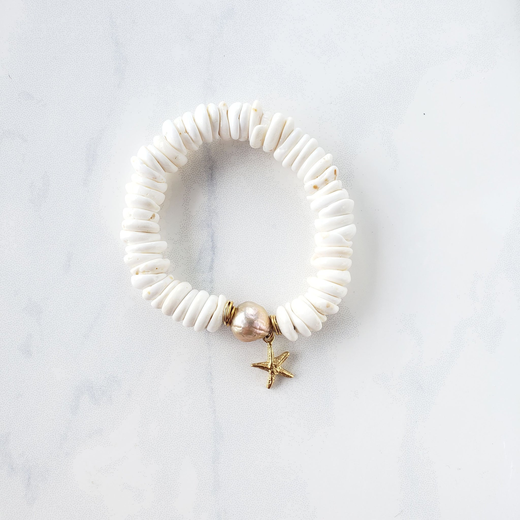 Puka Shell+Pearl Bracelet - Sati Gems Hawaii Healing Crystal Gemstone Jewelry