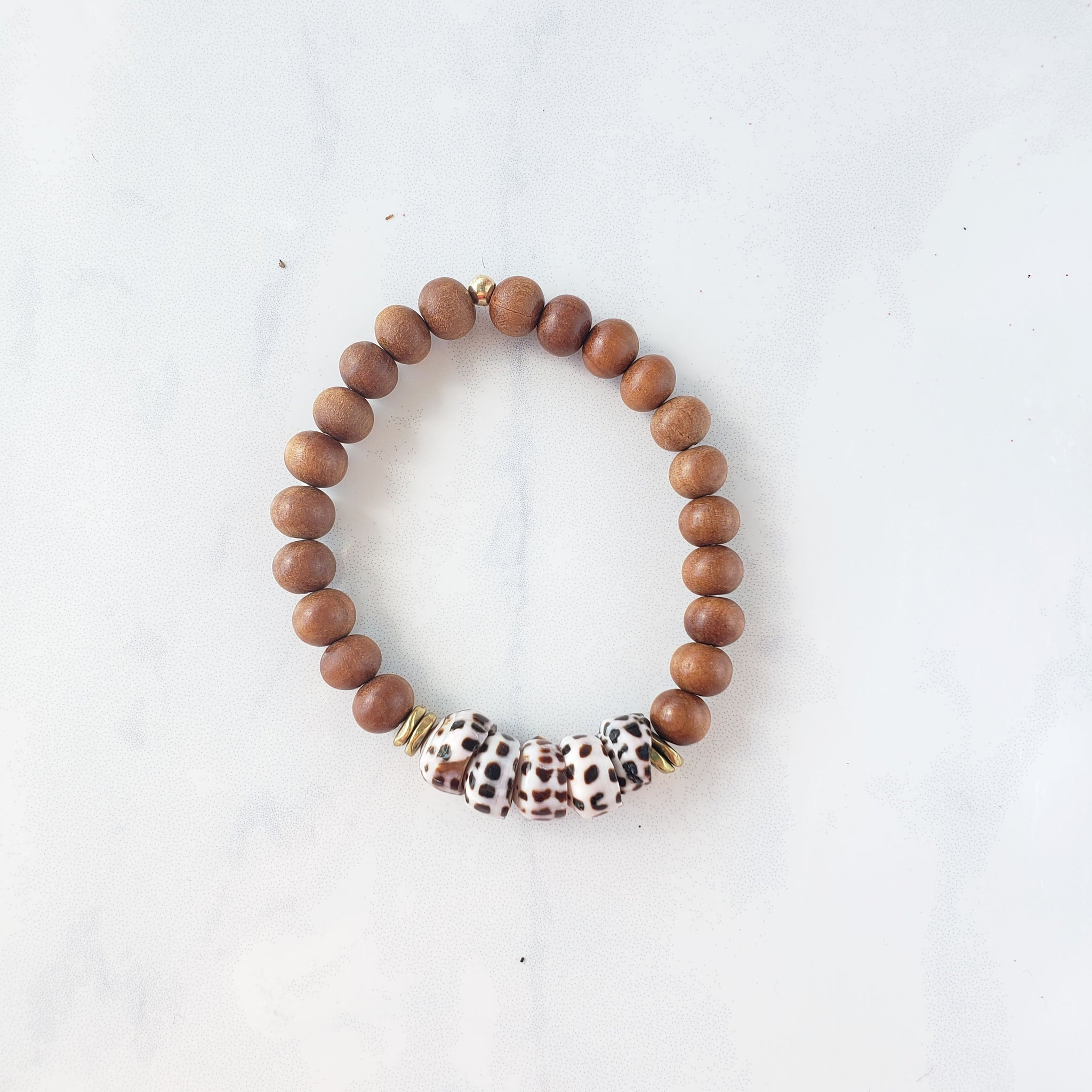 Sandal wood + Shell bracelet - Sati Gems Hawaii