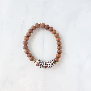 Sandal wood + Shell bracelet - Sati Gems Hawaii Healing Crystal Gemstone Jewelry