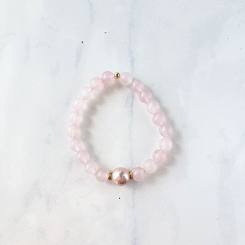 Rose Quartz + Pink Pearl Bracelet - Sati Gems Hawaii Healing Crystal Gemstone Jewelry
