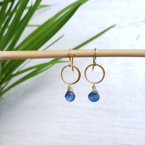 Blue Kyanite Drop Earrings - Sati Gems Hawaii Healing Crystal Gemstone Jewelry
