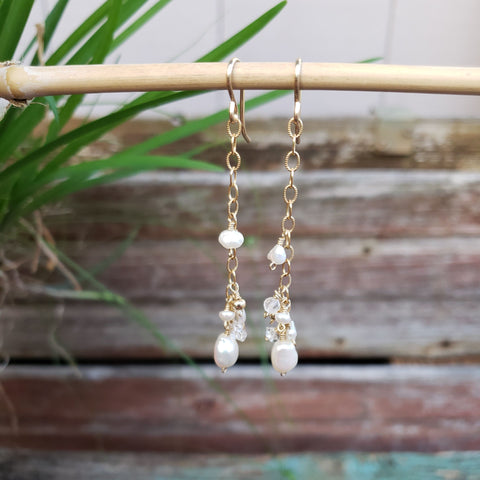 Pearl Gem Drop Earrings - Sati Gems Hawaii