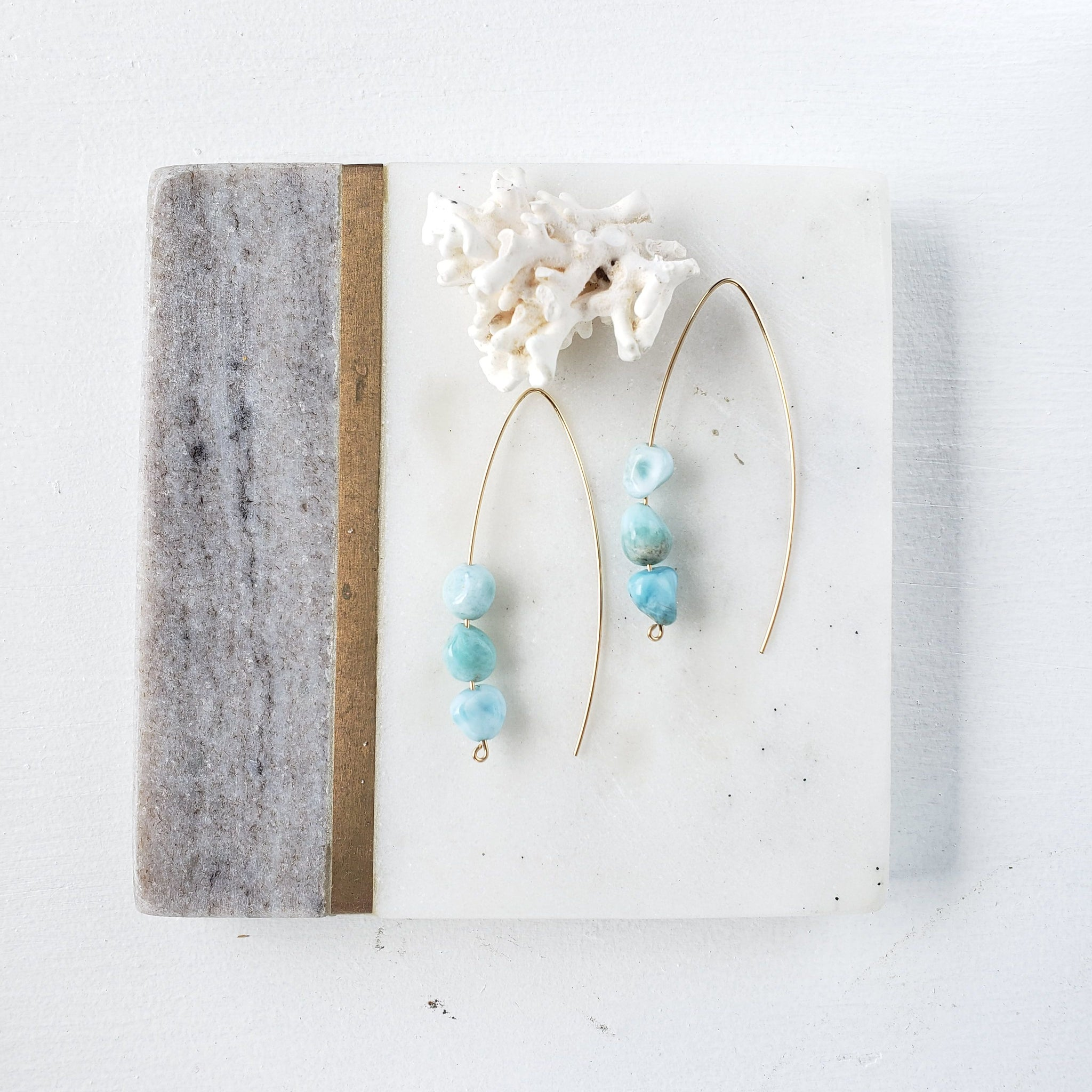 Ocean Blue Larimar Gold Earrings - Sati Gems Hawaii