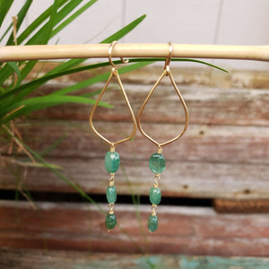 Emerald Drop Earrings - Sati Gems Hawaii Healing Crystal Gemstone Jewelry