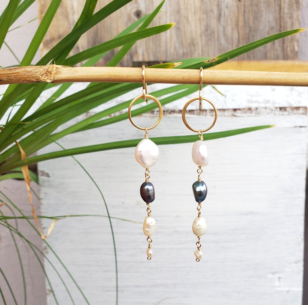 Pearl Dangle Gold Earrings - Sati Gems Hawaii Healing Crystal Gemstone Jewelry