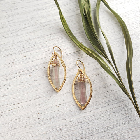 Pink Tourmaline Gold Earrings - Sati Gems Hawaii Healing Crystal Gemstone Jewelry