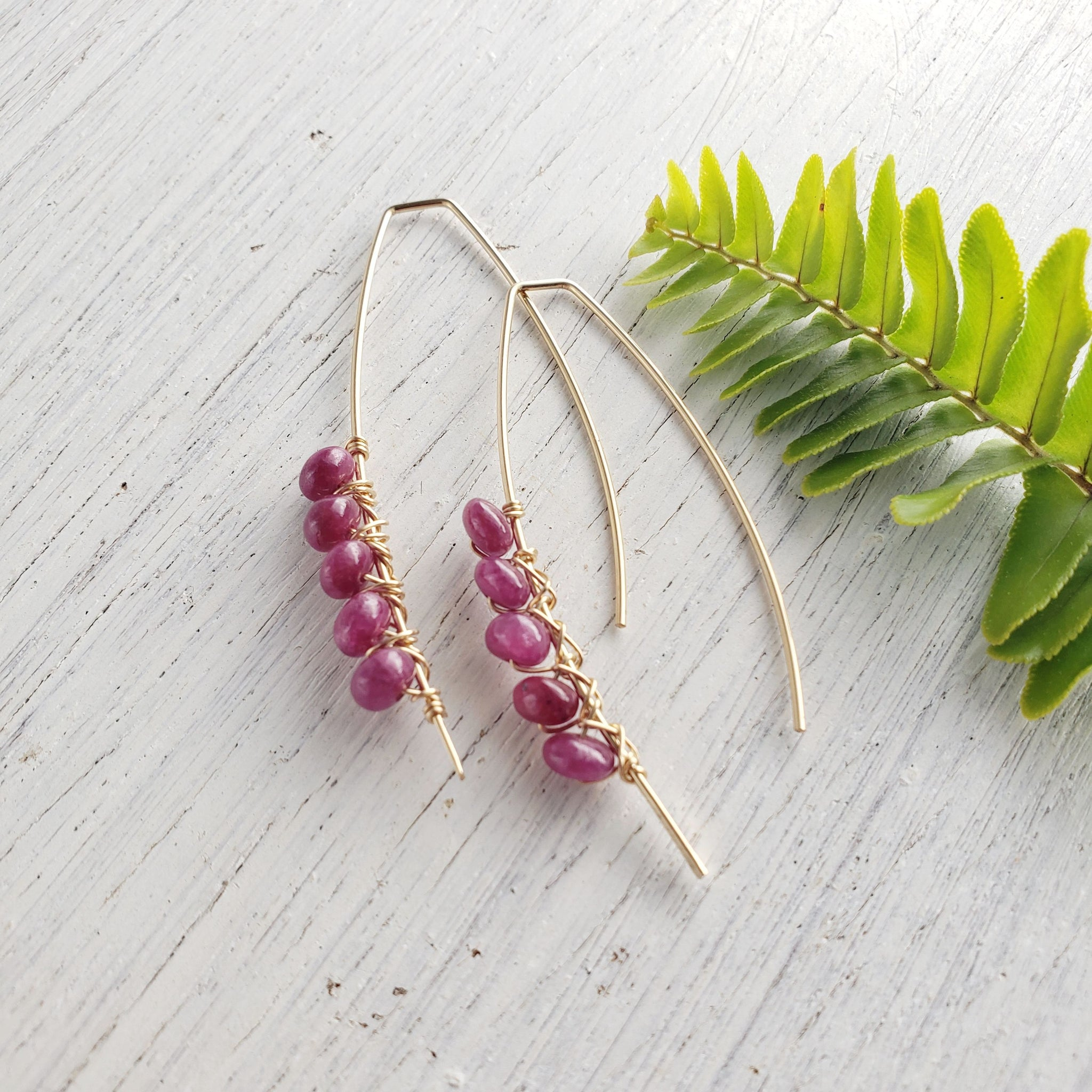 Ruby Gold Earrings - Sati Gems Hawaii Healing Crystal Gemstone Jewelry