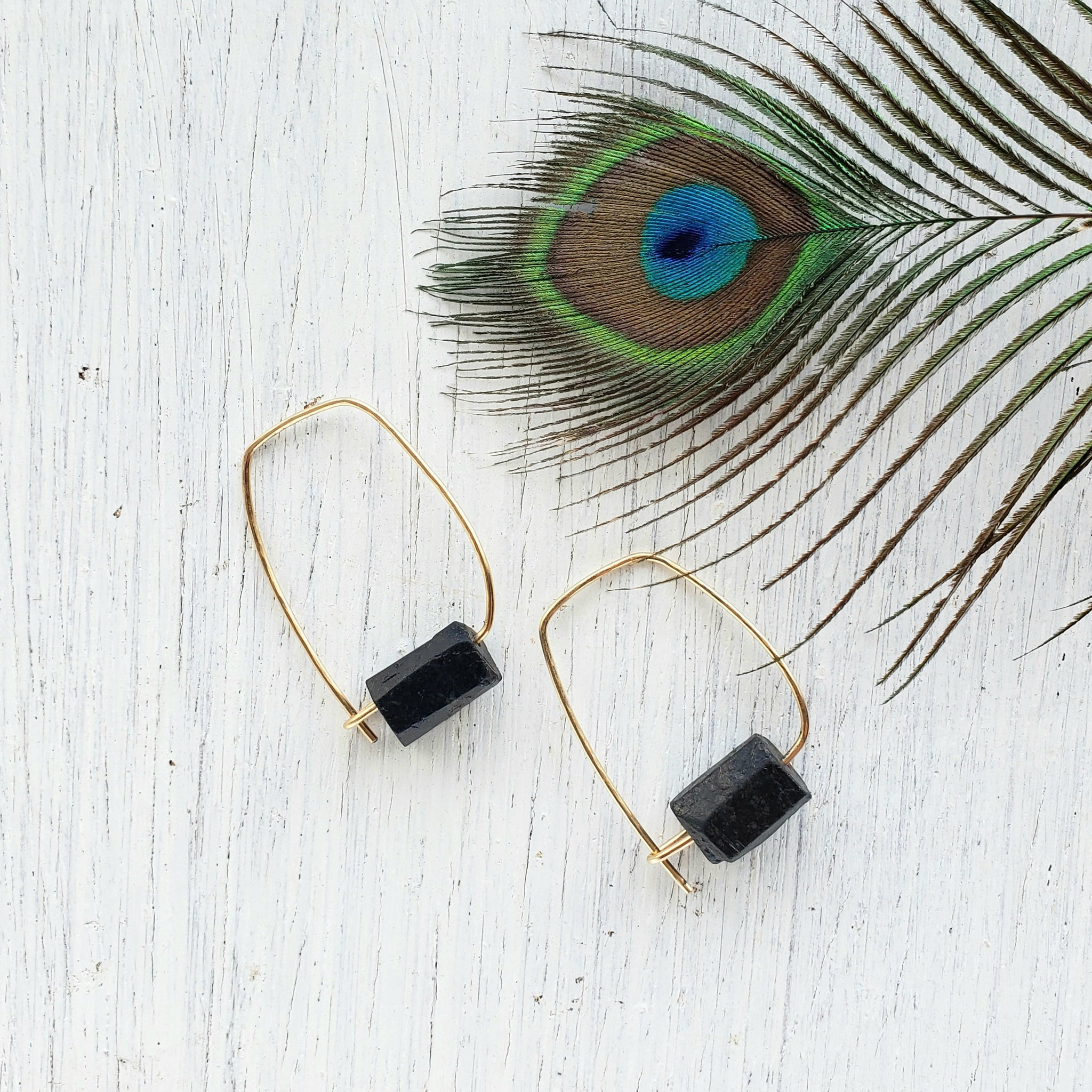 Black Tourmaline Earrings - Sati Gems Hawaii Healing Crystal Gemstone Jewelry