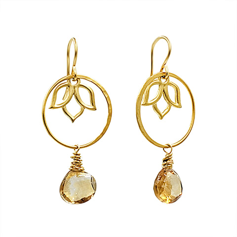 Yellow Citrine Lotus Earrings - Sati Gems Hawaii Healing Crystal Gemstone Jewelry