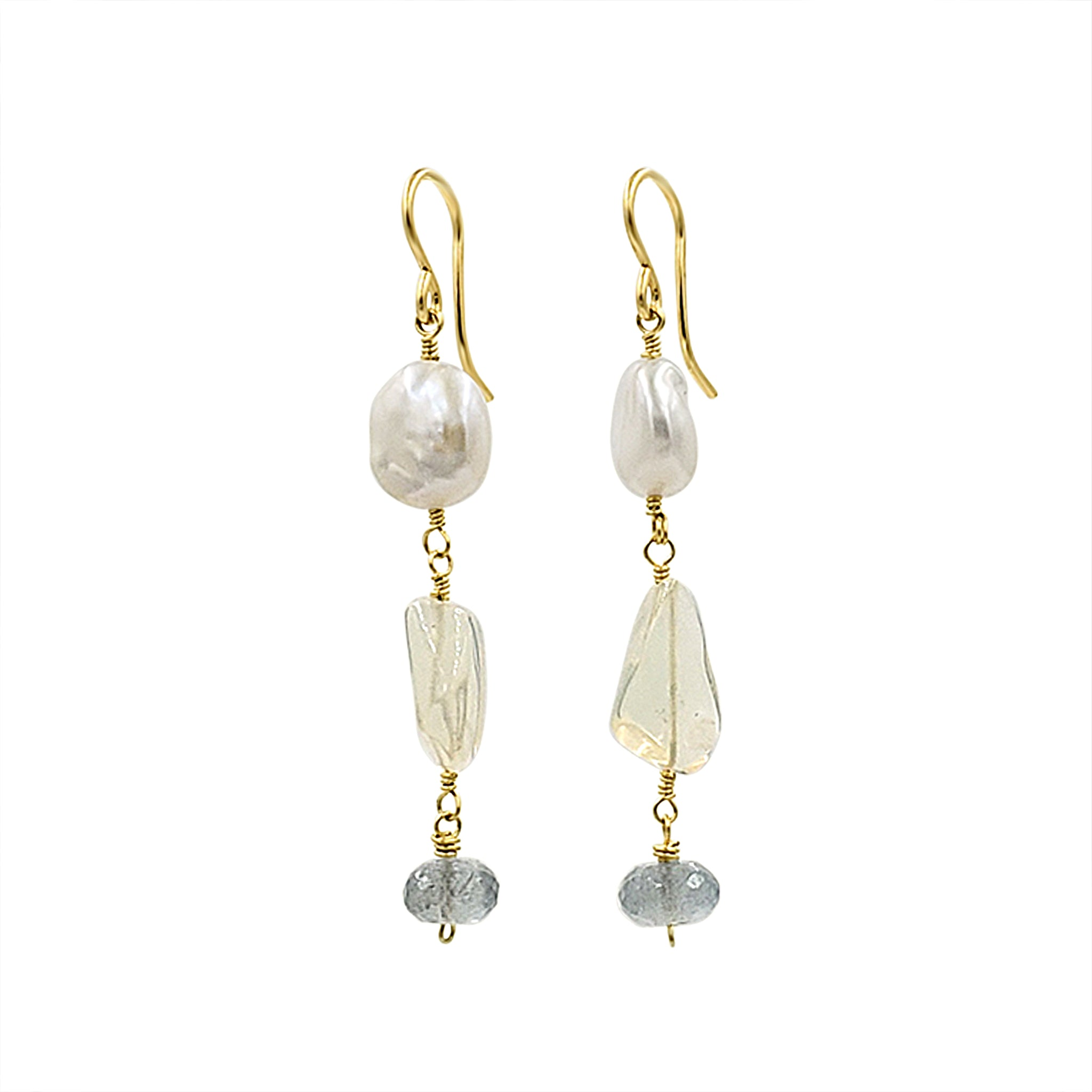Aquamarine + Opal Earrings - Sati Gems Hawaii Healing Crystal Gemstone Jewelry
