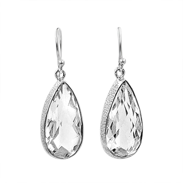 Crystal Clear Silver Earrings - Sati Gems Hawaii Healing Crystal Gemstone Jewelry