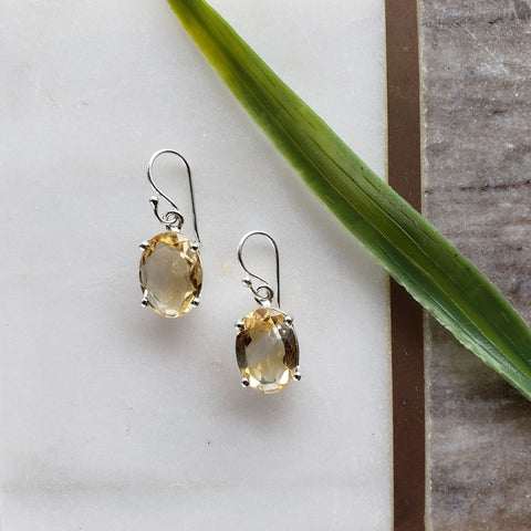 Citrine Sterling Silver Earrings - Sati Gems Hawaii Healing Crystal Gemstone Jewelry