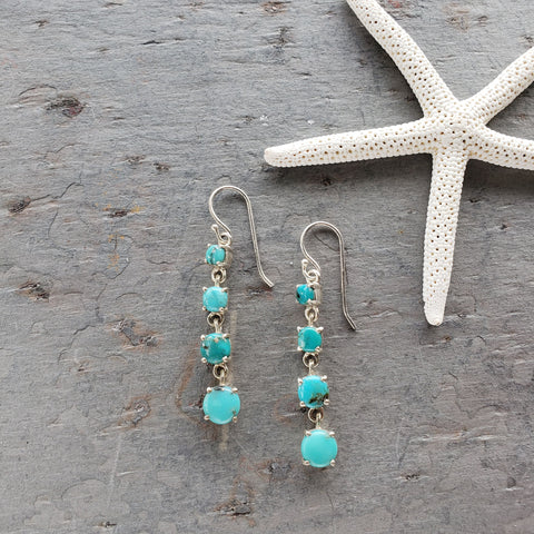 Ocean Blue Turquoise Dangle Earrings - Sati Gems Hawaii Healing Crystal Gemstone Jewelry