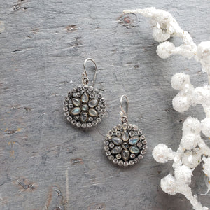 Mandala Labradorite Sterling Earrings - Sati Gems Hawaii Healing Crystal Gemstone Jewelry