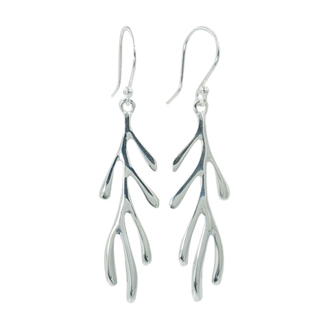 Coral Branch Silver Earrings - Sati Gems Hawaii