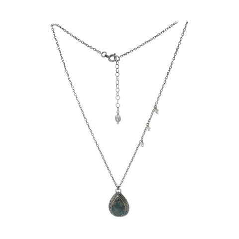 Sterling Silver Necklace Tear shape Labradorite - Sati Gems Hawaii