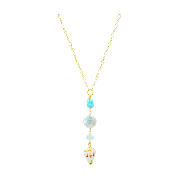 Amazonite Shell Drop Gold Fill Necklace - Sati Gems Hawaii