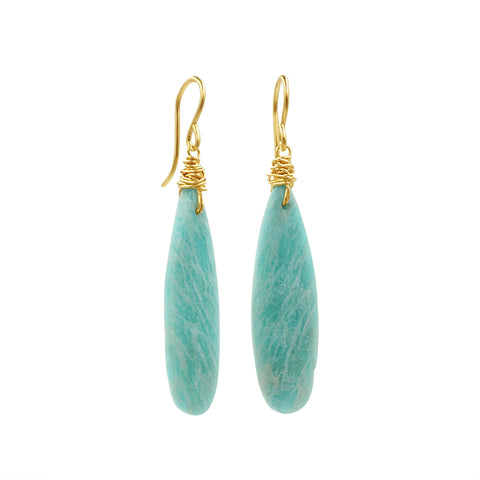 Amazonite Drop Gold Earrings - Sati Gems Hawaii Healing Crystal Gemstone Jewelry