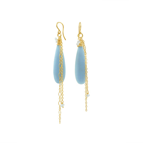 Blue Angelite Gold Earrings - Sati Gems Hawaii Healing Crystal Gemstone Jewelry