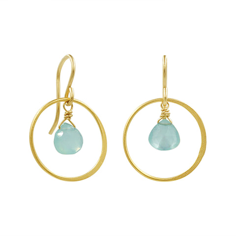 Blue Chalcedony Gold Hoop Earrings - Sati Gems Hawaii Healing Crystal Gemstone Jewelry