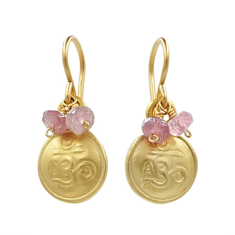 Gold Om Pink Tourmaline Earrings - Sati Gems Hawaii Healing Crystal Gemstone Jewelry
