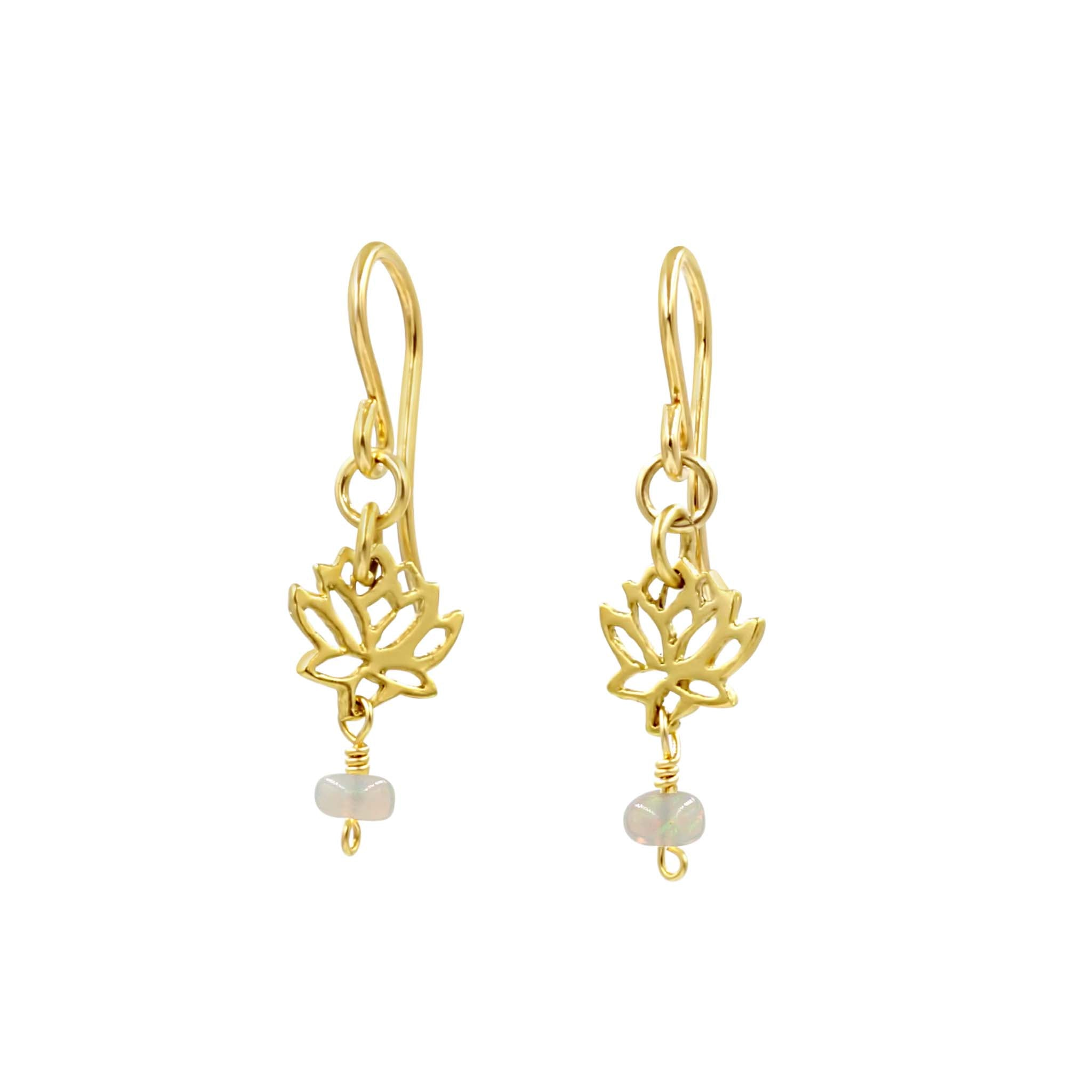 Mini gold Lotus Opal Earrings - Sati Gems Hawaii Healing Crystal Gemstone Jewelry