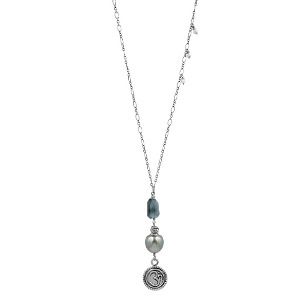 Feeling at Peace Aquamarine Tahitian Pearl Necklace - Sati Gems Hawaii