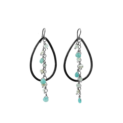Amazonite and Pearl Earrings - Sati Gems Hawaii
