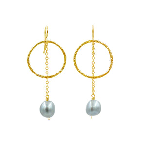 Pearl Gold Vermeil Earrings - Sati Gems Hawaii Healing Crystal Gemstone Jewelry