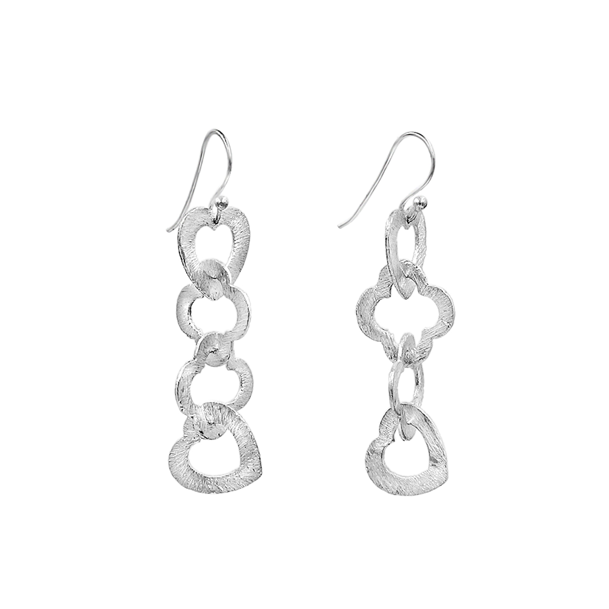 Open heart silver earrings - Sati Gems Hawaii Healing Crystal Gemstone Jewelry