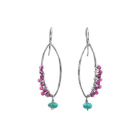 Enchanted Garnet +turquoise, silver earrings - Sati Gems Hawaii