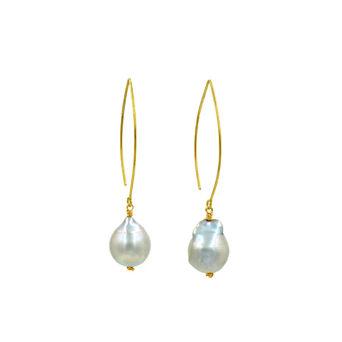 Big baroque fresh water pearl earrings - Sati Gems Hawaii Healing Crystal Gemstone Jewelry