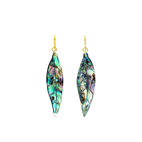 Maile Leaf Mother of Pearl Earrings - Sati Gems Hawaii Healing Crystal Gemstone Jewelry