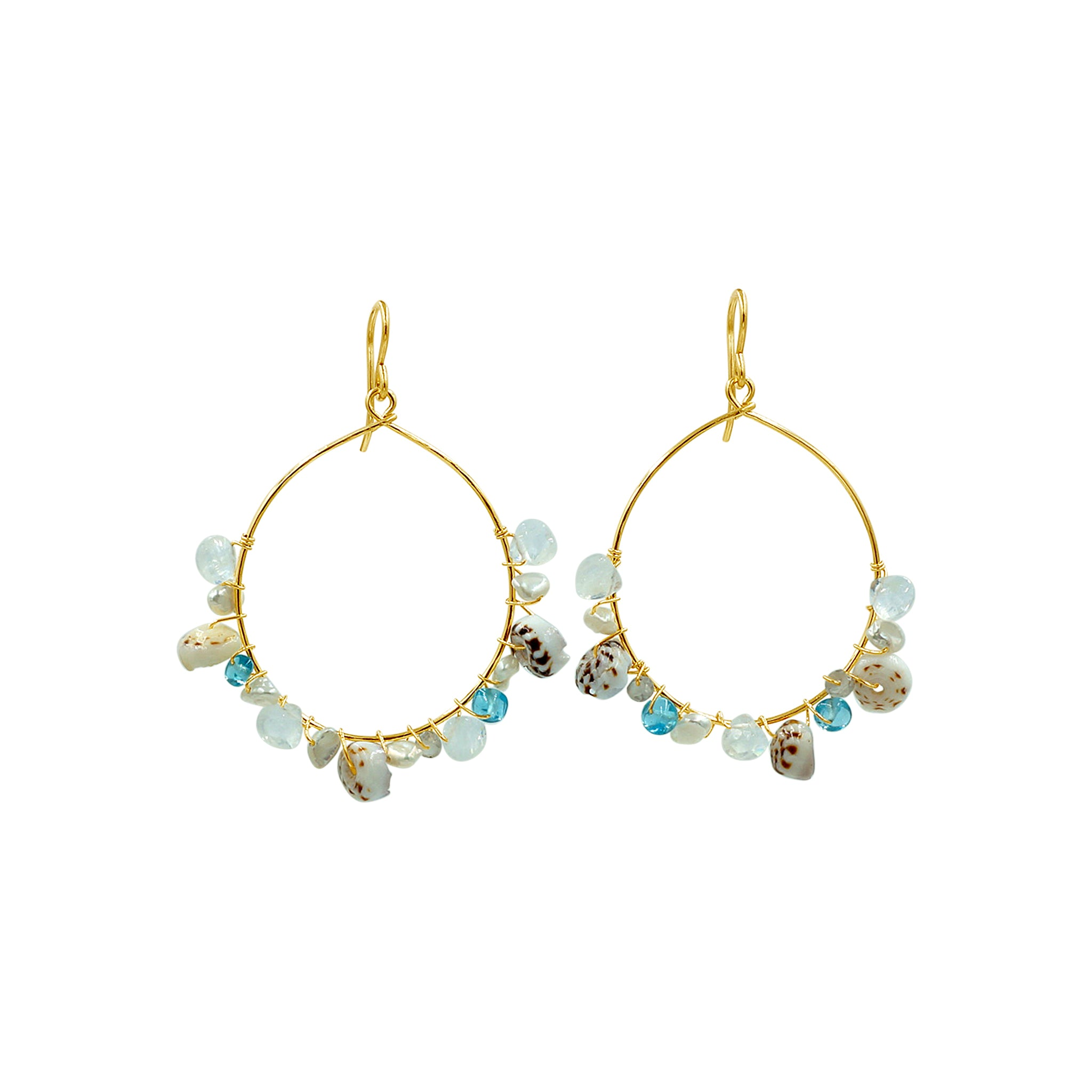 Tropical Gemstone Shell Hoop Earrings - Sati Gems Hawaii Healing Crystal Gemstone Jewelry