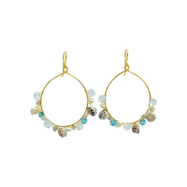 Tropical Gemstone Shell Hoop Earrings - Sati Gems Hawaii