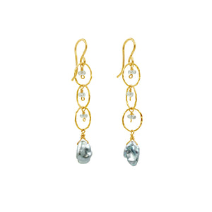 Dangle Gold-filled Earrings with gem and pearl drops - Sati Gems Hawaii Healing Crystal Gemstone Jewelry